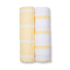 2 pack  cotton mini muslin cloths - yellow stripes