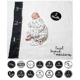 Baby's first year cotton muslin swaddle & 14 cards set - loved beyond measure