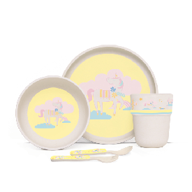 Penny bamboo plate meal time set-unicorn park life