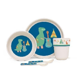 Penny bamboo plate meal time set -dino rock