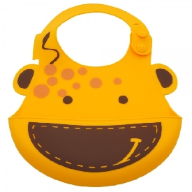 Baby silicone bib - yellow (lola the giraffe)
