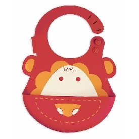 Baby Silicone Bib - Red (Marcus The Lion)