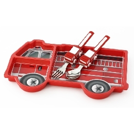 Fire engine dinnerware set