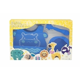 Baby feeding gift set - blue (lucas the hippo)