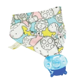 Organic bandana and pacifier - hippo (lucas)