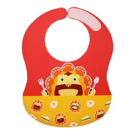 Wide coverage silicone bibs - red (marcus the lion)