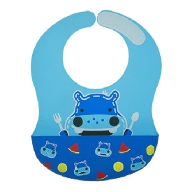 Wide coverage silicone bibs - blue (lucas the hippo)