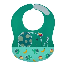 Wide coverage silicone bibs - green (ollie the elephant)