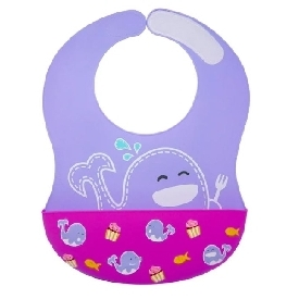 Wide coverage silicone bibs - purple (willo the whale)
