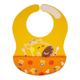 Wide coverage silicone bibs - yellow (lola the giraffe)