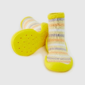 Non-skid rubber sole slipper socks - orange cake
