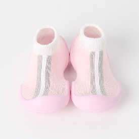 Non-skid rubber sole slipper socks - angel line pink