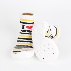 Non-skid rubber sole slipper socks - i heart ring white