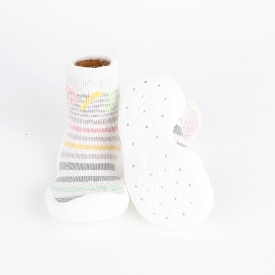 Non-skid rubber sole slipper socks - meloring white