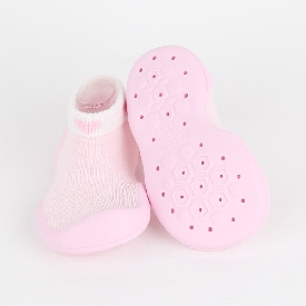 Non-skid rubber sole slipper socks - heart mesh pink