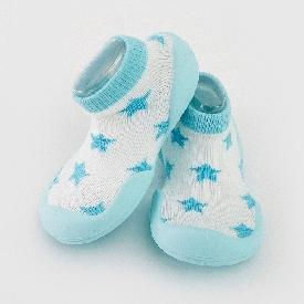 ถุงเท้ารองเท้าหัดเดินกันลื่น - สีขาวรูปดาวพื้นยางสีฟ้า