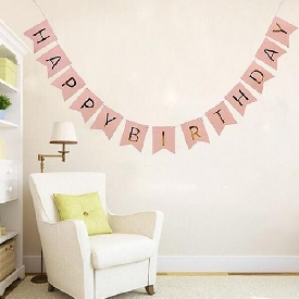Happy birthday letter banner flags