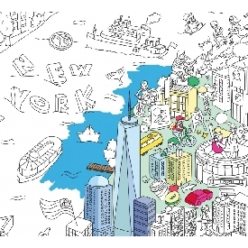 Coloring poster - new york city