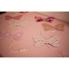 Fabric Garland - Butterfly with pearls