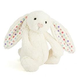 ตุ๊กตากระต่ายน้อยนุ่มนิ่มสีขาว หูลายจุด ขนาดกลาง