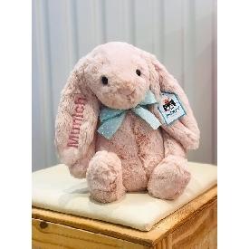 ตุ๊กตากระต่ายน้อยนุ่มนิ่มสีขาว - ปักชื่อที่ต้องการได้