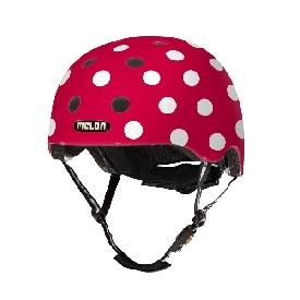 หมวกกันน็อก 46-52 cm สีแดงจุดขาว