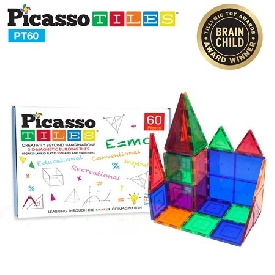 Picasso Tiles - 60 Pieces: 3-D Magnetic Building Tiles