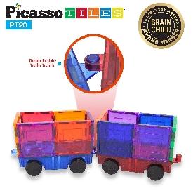 Picasso tiles ต่อแม่เหล็กสีแบบใส ชุด magnetic train truck car