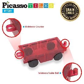 Picasso tiles - 2 pieces: 3d magnetic train truck car