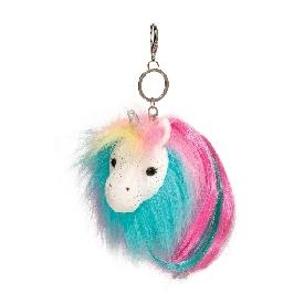 Rainbow unicorn pom clip