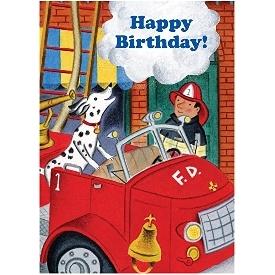 Eeboo birthday cards - fire dog&fireman