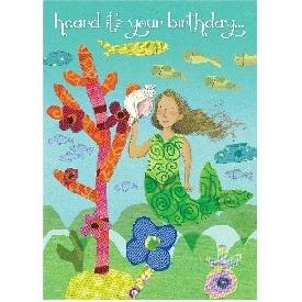 Eeboo birthday cards - mermaid with shell