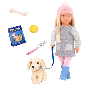 Doll with pet dog (golden retriever) - meagan