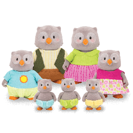 Owl large family set