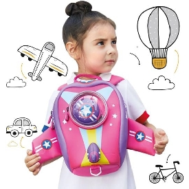 Uek 3d school bag - airplane pink