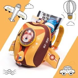 UEK 3D School Bag - Airplane Yellow