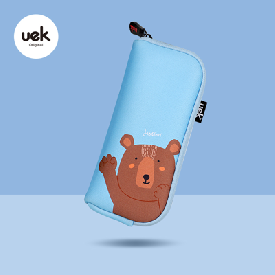 Hello pencil pouch - bear blue