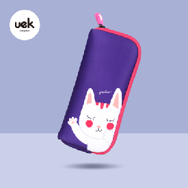 Hello pencil pouch - besty cat purple