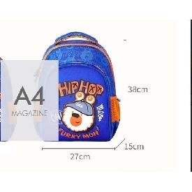 กระเป๋าเป้นักเรียน รุ่น polyester - ฮิบฮอบมอนสเตอร์ สีน้ำเงินเข้ม (xl)