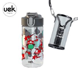Water bottle portable - dinosaur black