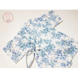 ชุด jinbei ดอกไม้สีฟ้า