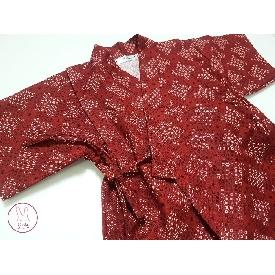 ชุด jinbei ลายตารางสีแดง