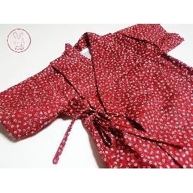 ชุดจินเบอิ ลายดอกไม้สีแดง