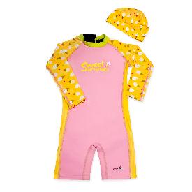 ชุดว่ายน้ำกันยูวี swimfly แบบบอดี้สูทแขนยาว ผู้หญิง ลายไอศครีม+หมวกว่ายน้ำ (xxs-l) (2)