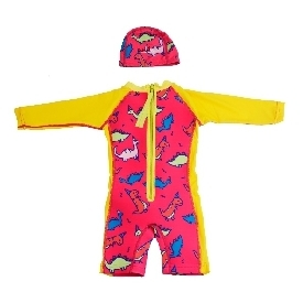 Wetsuit long sleeve + cap: dinosaur for girls (xxs-l)