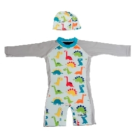 Wetsuit long sleeve + cap: dinosaur for boys (xxs-l)