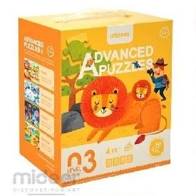Mideer มีเดียร์  4 in 1  advanced puzzle step 3 จิ๊กซอว์สัตว์โลก