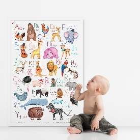 Poster a-z animals vintage