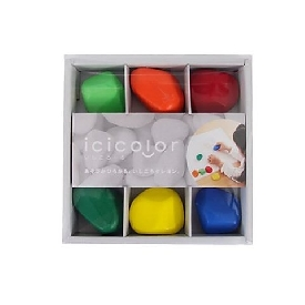 Aozora - สีเทียนรูปทรงหิน 6 สี