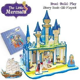 3d playset with storybook - the little mermaid